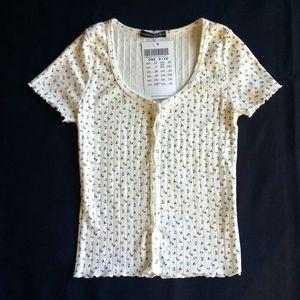 BRANDY MELVILLE Super Rare Floral Print Knit Top